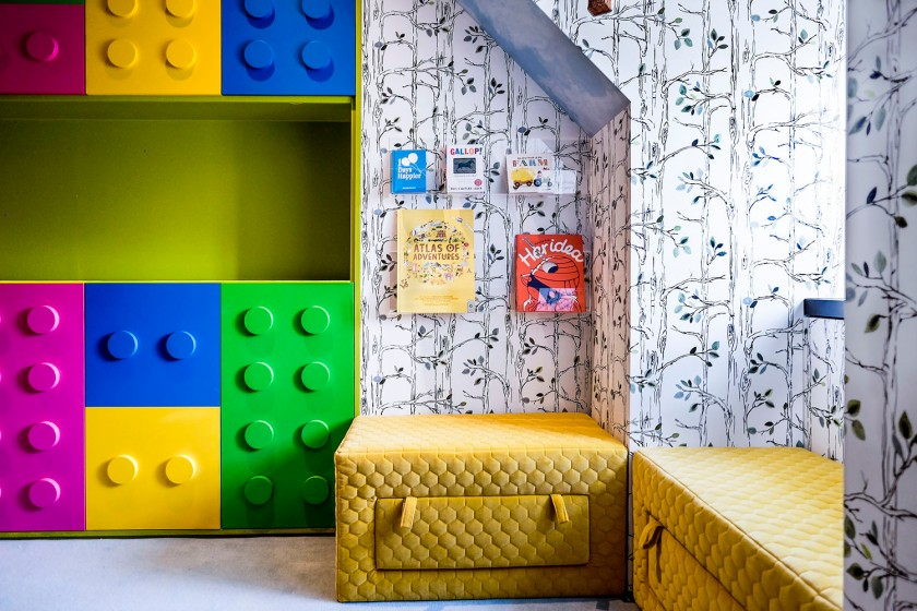 Colourful Reading nook_lego storage_unisex playroom_MK Kids Interiors